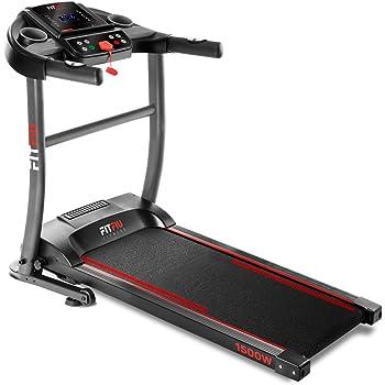 Fitfiu Fitness MC-200, Tapis Roulant Pieghevole E Compatto con Cardiofrequenzimetro, 1500 W, Massimo 14 Km/h Unisex – Adulto, Nero, M