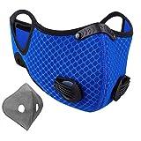 NUÜR - Mascarilla con doble filtro de aire, pinza para la nariz de plástico blando, y tira para proteger. Lavable y duradera.