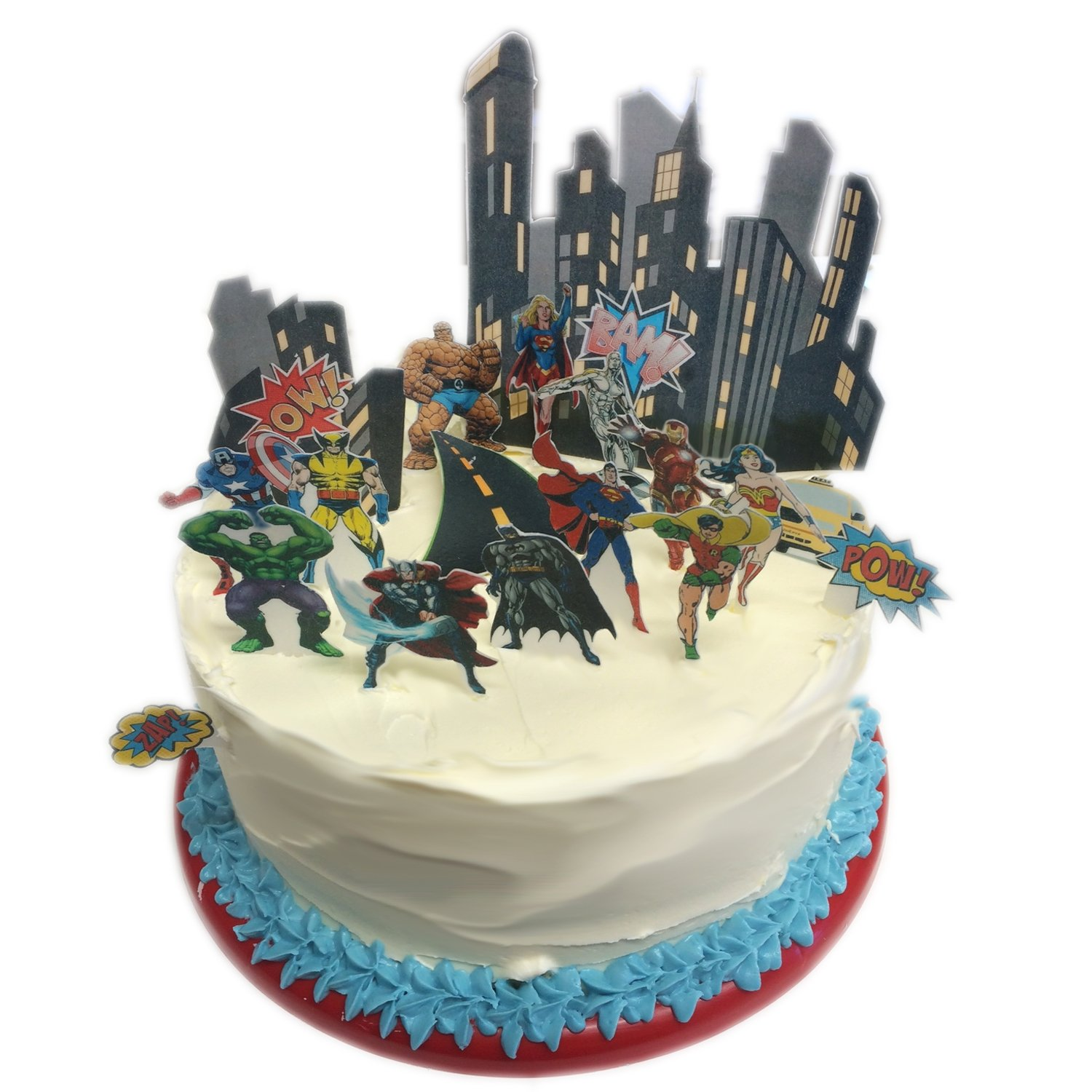 Marvel Superheroes Characters City Scene Edible Wafer Paper Cake