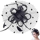 Retro Fascia Piuma Cappello Fiore Clip del Cappello di Matrimonio Accessori per Capelli da SposaCappello Veil Looped Strips F