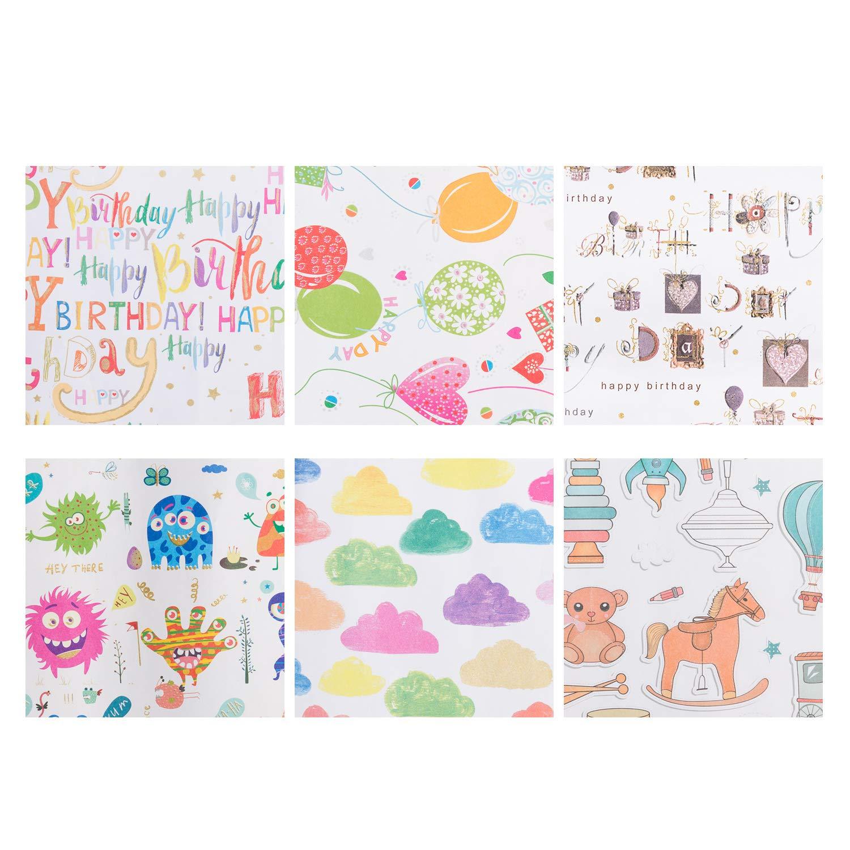 20/fogli piegati per spedizioni Happy Birthday carta regalo