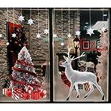 Heekpek Grande Árbol De Navidad Blanco Alces Pegatinas Navidad Ventana de Pared Feliz Navidad Pegatinas Decorativas Vinilos N