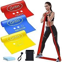Gritin Bande Elastiche Fitness, [3 Pezzi] Fasce Elastiche di Resistenza di Lattice Naturale con 3 Livelli per Yoga…