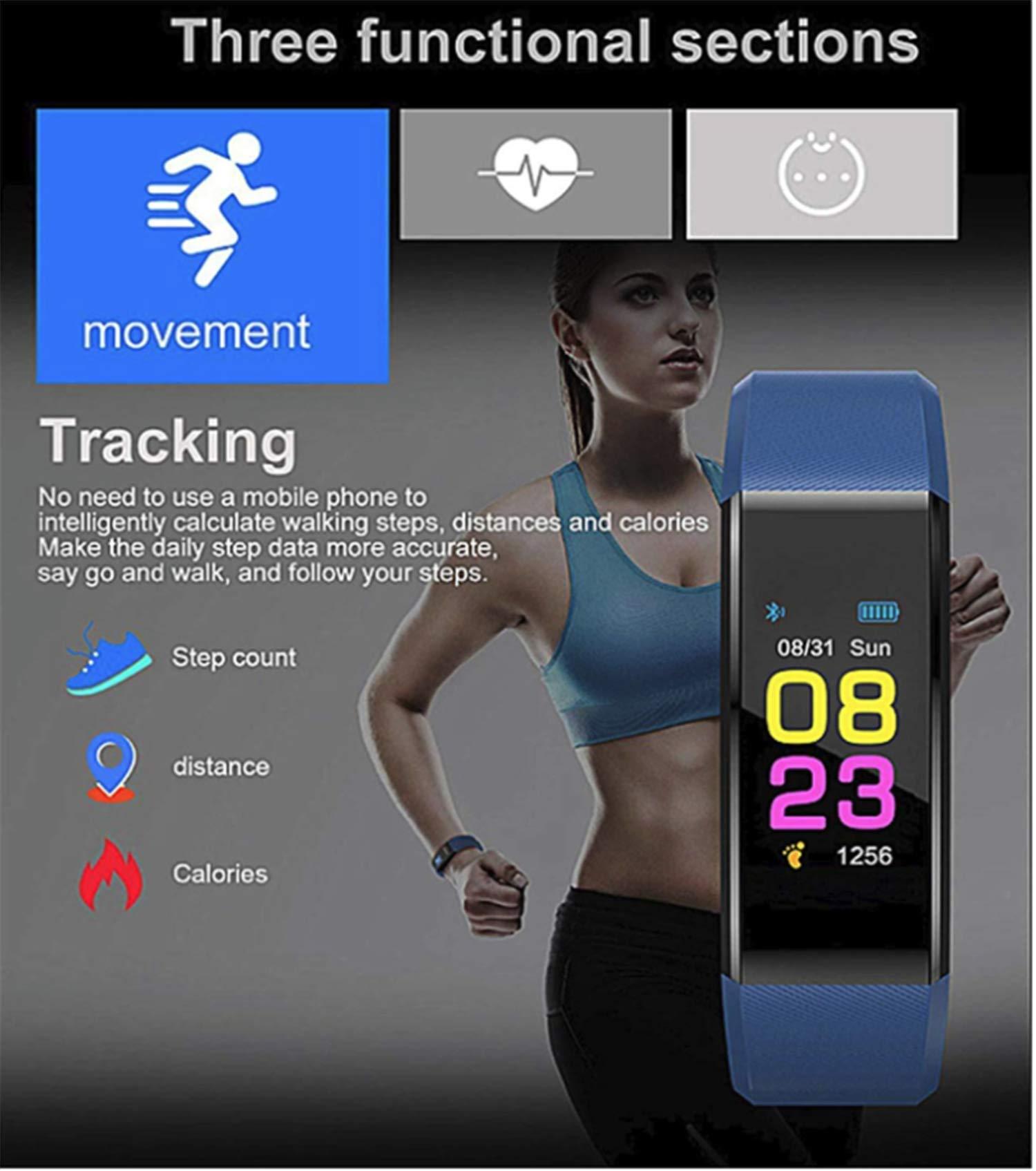 Pulsera Actividad,Impermeable IP67 Pulsera Inteligente con Pulsómetro, Reloj Inteligente para Deporte, Podómetro, Pulsera Deporte para Android y iOS Teléfono móvil para Hombres Mujeres Niños 2