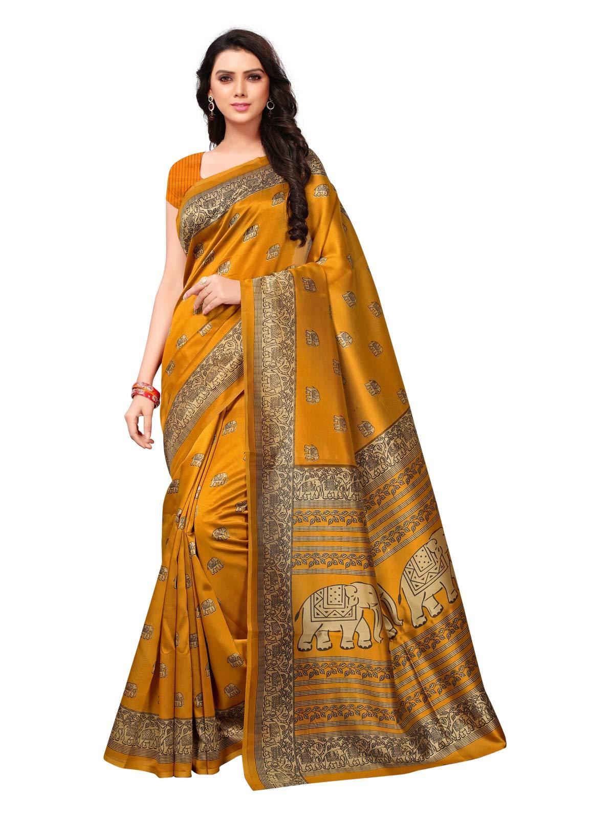 Kanchnar Women's Yellow Poly Silk Printed Saree735S39