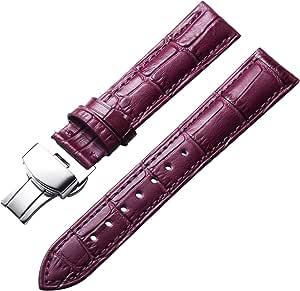 Cinturino in vera pelle di vitello di ricambio Cinturino in alligatore per Unisex con fibbia ad azionamento farfalla Argento/Oro/Oro Rosa 12mm 13mm 14mm 16mm 17mm 18mm 19mm 20mm 21mm 22mm 23mm 24mm
