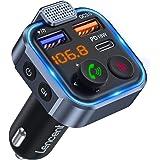 [2021 versión] LENCENT Transmisor FM Bluetooth 5.0, Manos Libres Inalámbrico Reproductor Música Coche, Adaptador Radio Blueto