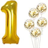 Party Propz Set of 6 - 1 number Foil Balloons with Gold confetti balloons for Girls Boys Kids 1st birthday decoration