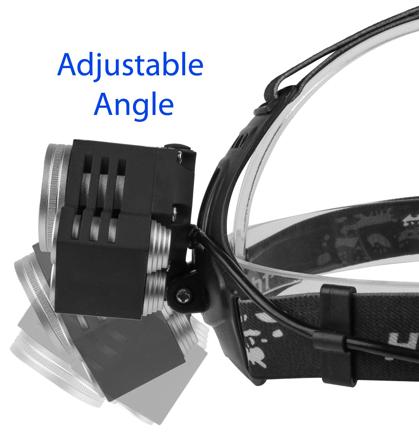 LED Head Torch Headlight. 5 Super Bright T6 Bulb Headlamp. Comfortable, Lightweight and Water resistant. Ideal for Running, Dog Walking, Fishing, Camping and Reading. Rechargeable Batteries Included 2