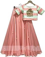 "Ethnic Wings Women's Silk Dress Material (Ethnic M_ER10687_Peach-""1_Free Size)"