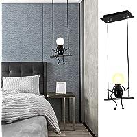 suspension luminaire Lampes suspendues rétro LED E27 Lustres en fer noir Lampe de suspension de bande dessinée créative…