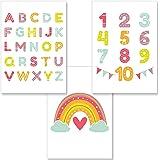 PREMYO Poster Barnrum Unisex - Affisch Babyrum Set Barnposter Alfabet ABC Regnbågen - Illustration Dekoration Sovrum A4