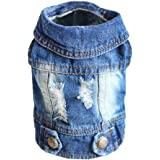 SILD Cool Vintage Denim Lavato Giacca Tuta Blu Jean Abiti per Piccoli Animali Cane Gatto/6 Stili XS-XXL (M)
