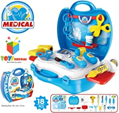 Toys Bhoomi Little Doctor's Bring Along Medical Clinic Suitcase Playset - 18 Pieces