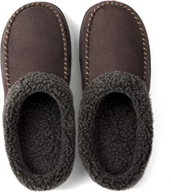 ULTRAIDEAS Men's Slip On Moc Slippers with Memory Foam and Fuzzy Wool-Like Lining, Suede Mule House Shoes with Indoor Outdoor Anti-Skid Rubber Sole
