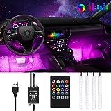 Anykuu LED Neon Auto Interni Impermeabile 4 Strisce LED per Auto 8 Colori Controllo Remoto e Suono strisce Led per Auto Funzi