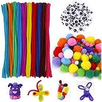 MengH-SHOP Tiges de Chenille Balle Pompons Yeux Googly Wiggle Enfants Kits d'artisanat pour Métier de Bricolage Creative…