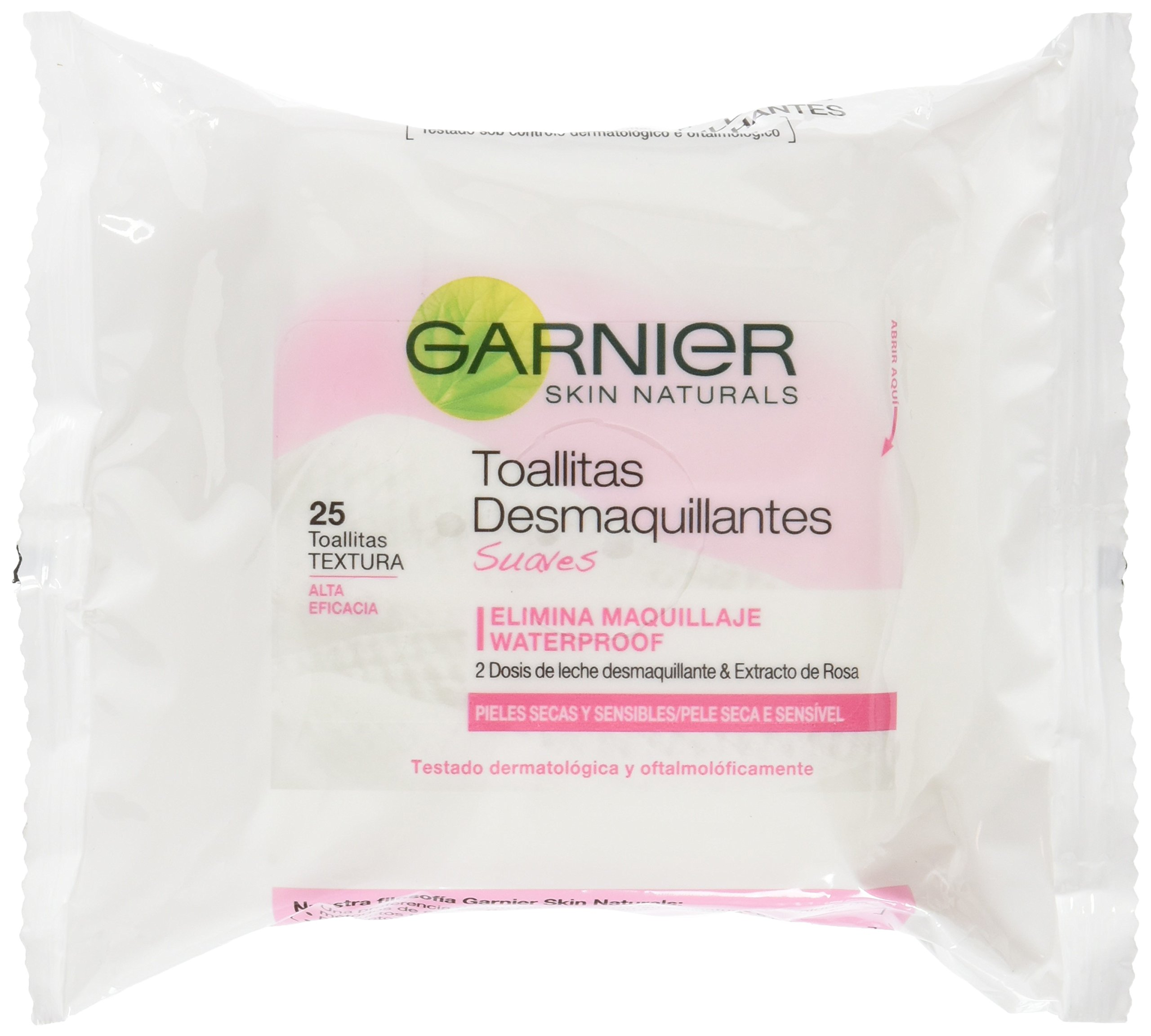 Garnier Skinactive – Toallitas Desmaquillantes Suaves, Pack 25, Total 50 Toallitas
