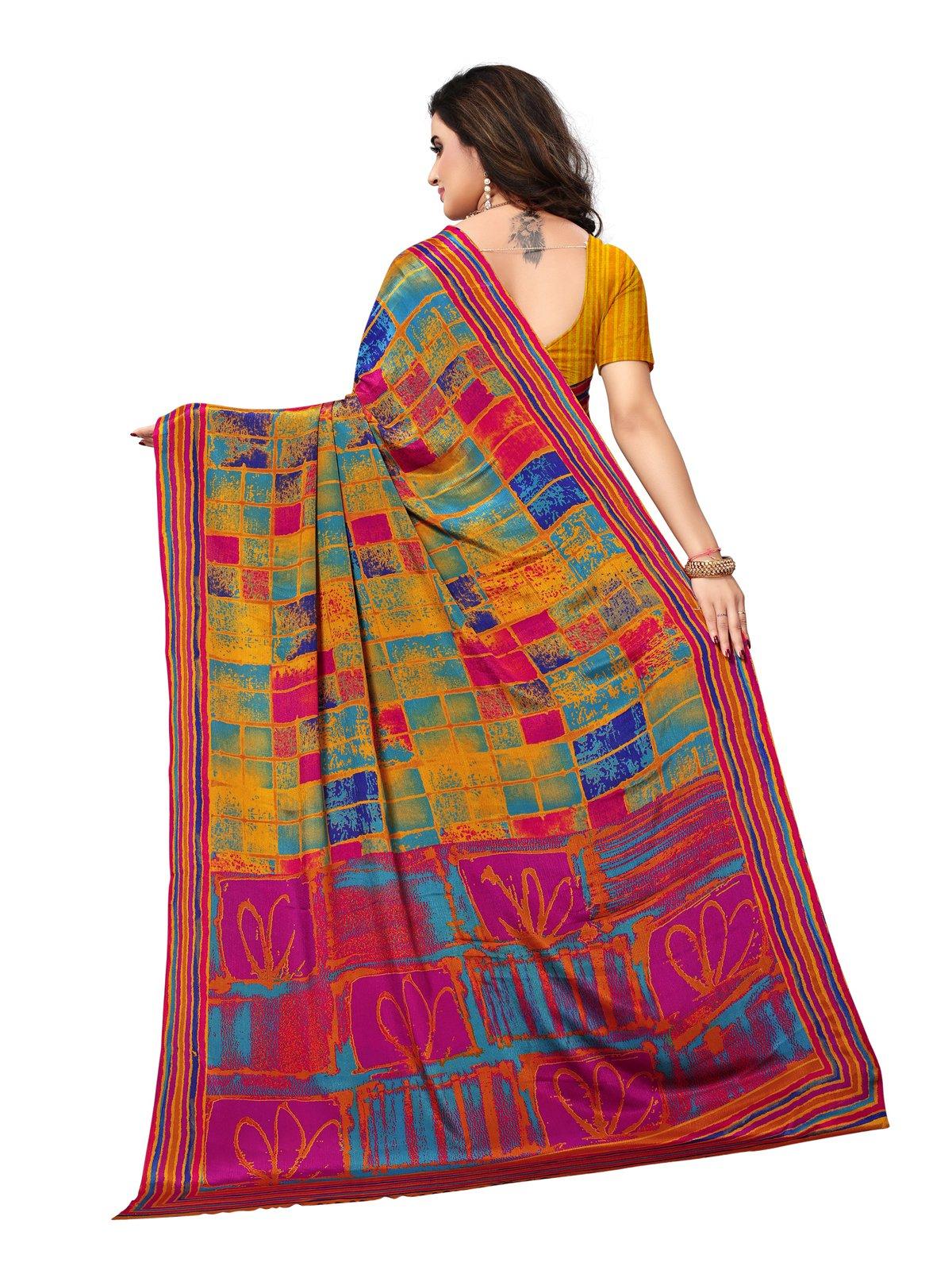 Kanchnar Women's Crepe Geometric Print Saree