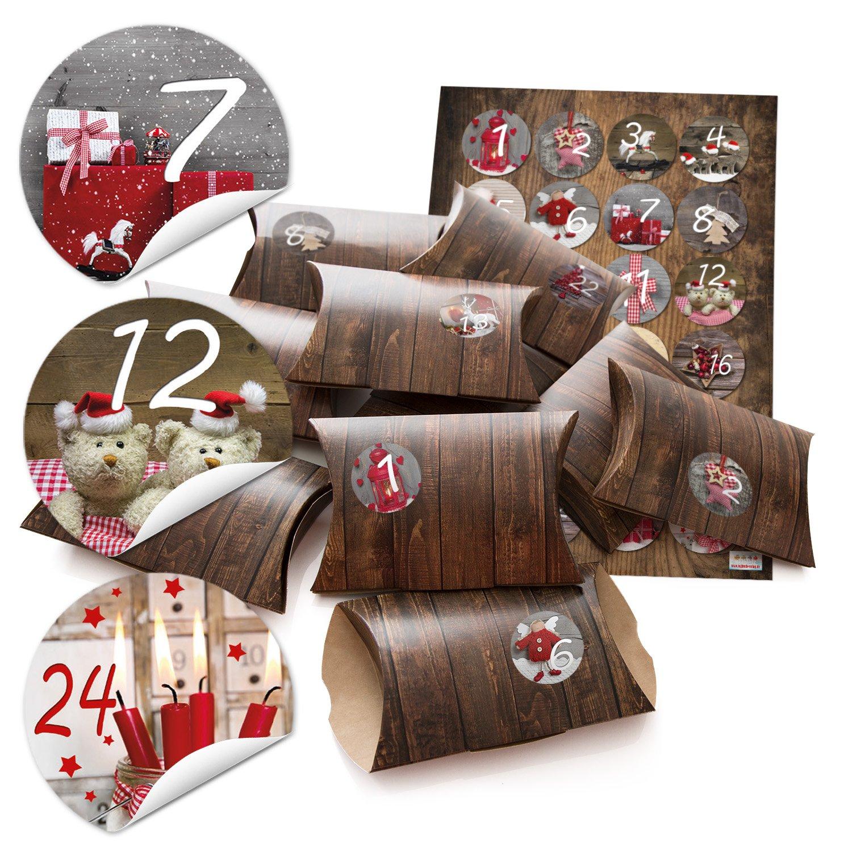'48�piccole scatole regalo effetto legno marrone con adesivo CALENDARIO DELL' AVVENTO cifre rusti