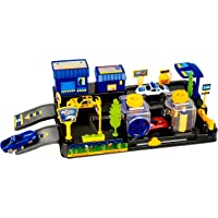 Toyshine Car Wash Play Set Track Set with 2 Cars, Accessories