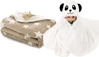 My Newborn Combo Of 2, Baby Blanket And Polka Wrapper- Brown Spread-Panda