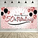 50th Birthday Black Gold Party Decoration, Extra Large Fabric Black Gold Sign Poster for 50th Anniversary Photo Booth…