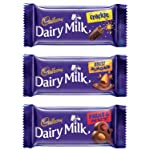 Cadbury Dairy Milk Chocolate Bar, Pack of 12 ( Fruit and Nut, 4x36g, Roast Almond, 4x36g, Crackle, 4x36g)