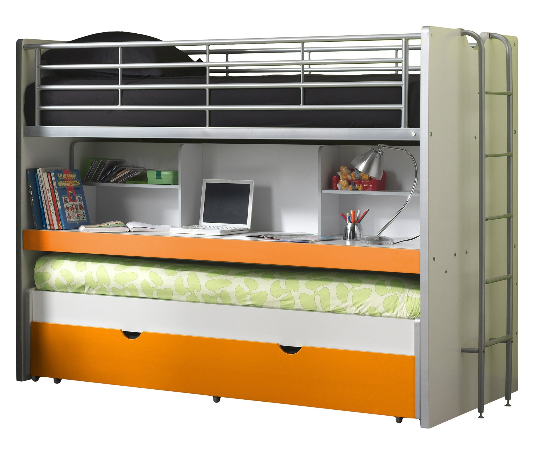 Vipack BOHS8011Bunk Beds Bonny, 207x 116x 98cm, Mattress 90x 200cm, 11, White/Orange Vipack Cabin bed with 2Sleeping surfaces 90x 200cm and 1drawer. Extendable Work Surface. Chipboard White MDF fronts and varnish with fall protection 1