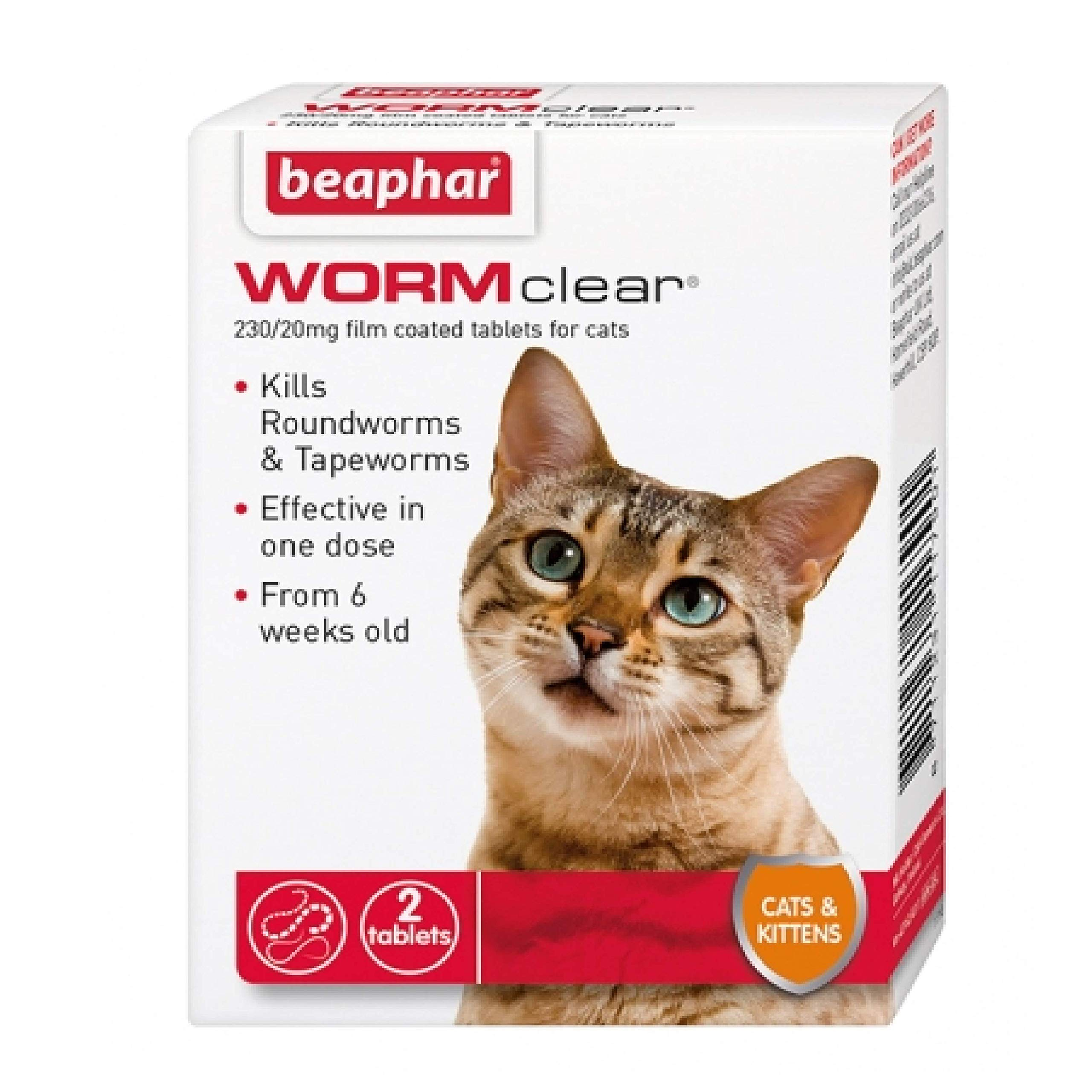 Leeway Beaphar – WORMclear – CATS & KITTENS – 2 TAB – ROUND & TAPE WORM x1