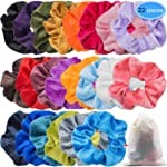 EAONE 22 Colors Velvet Hair Scrunchies Hair Elastic Ties Scrunchy Bands Ponytail Holder Headbands for Women Girls, 22 Pieces