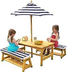KidKraft 106 Gartenmöbel-Set mit Tisch, Bank, Kissen und Sonnenschirm aus Holz für Kinder – dunkelblau & weiß gestreift