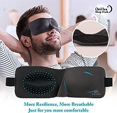Schlafmaske für Frauen & Männer, OriHea Fashion Licht blockierende Augenmaske zum Schlafen, 3D konturierte, bequeme ultraweiche Schlaf-Augenmaske & Augenbinde, druckfreie Augenschalen mit einstellbaren Bändern und Ohrstöpsel
