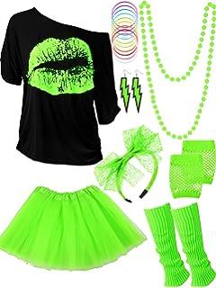 stampa neon ORION COSTUMES Costume da donna retr/ò scritta I love the 80s