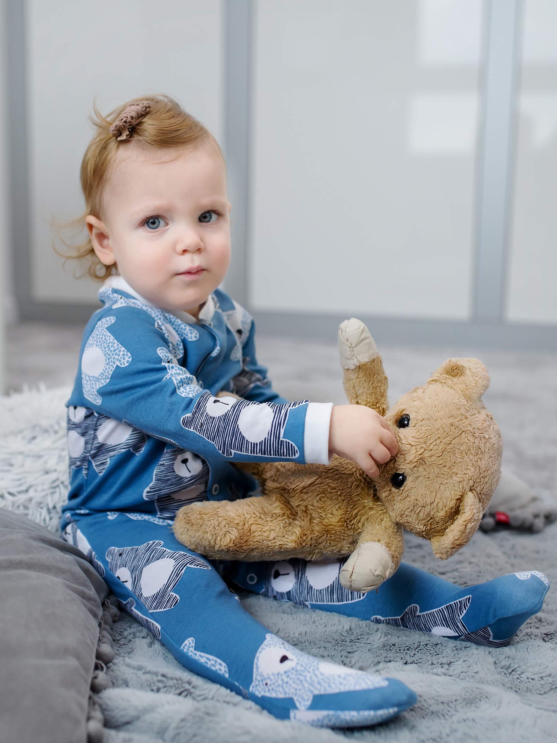Sibinulo Niño Niña Pijama Bebé Pelele de Algodón- Tamaños 56-74 - Pack de 3 9
