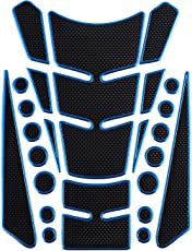 Autofy Spine Shaped Universal Petrol Tank Sticker Graphics for All Bikes (Black and Blue)