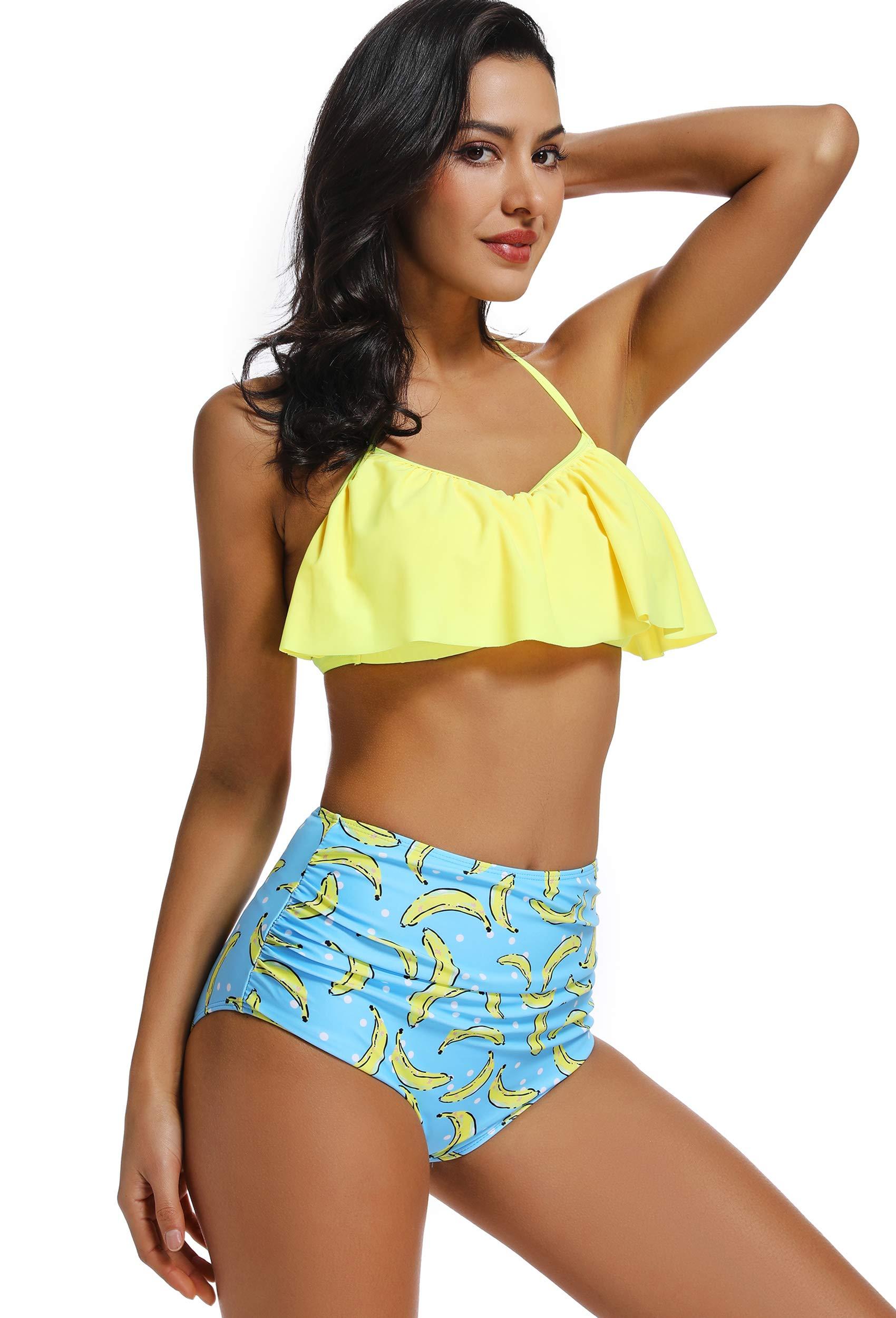 più economico 315c9 b3af9 INSTINNCT Costume da Bagno Bikini Volant Donna a 2 Pezzi con ...