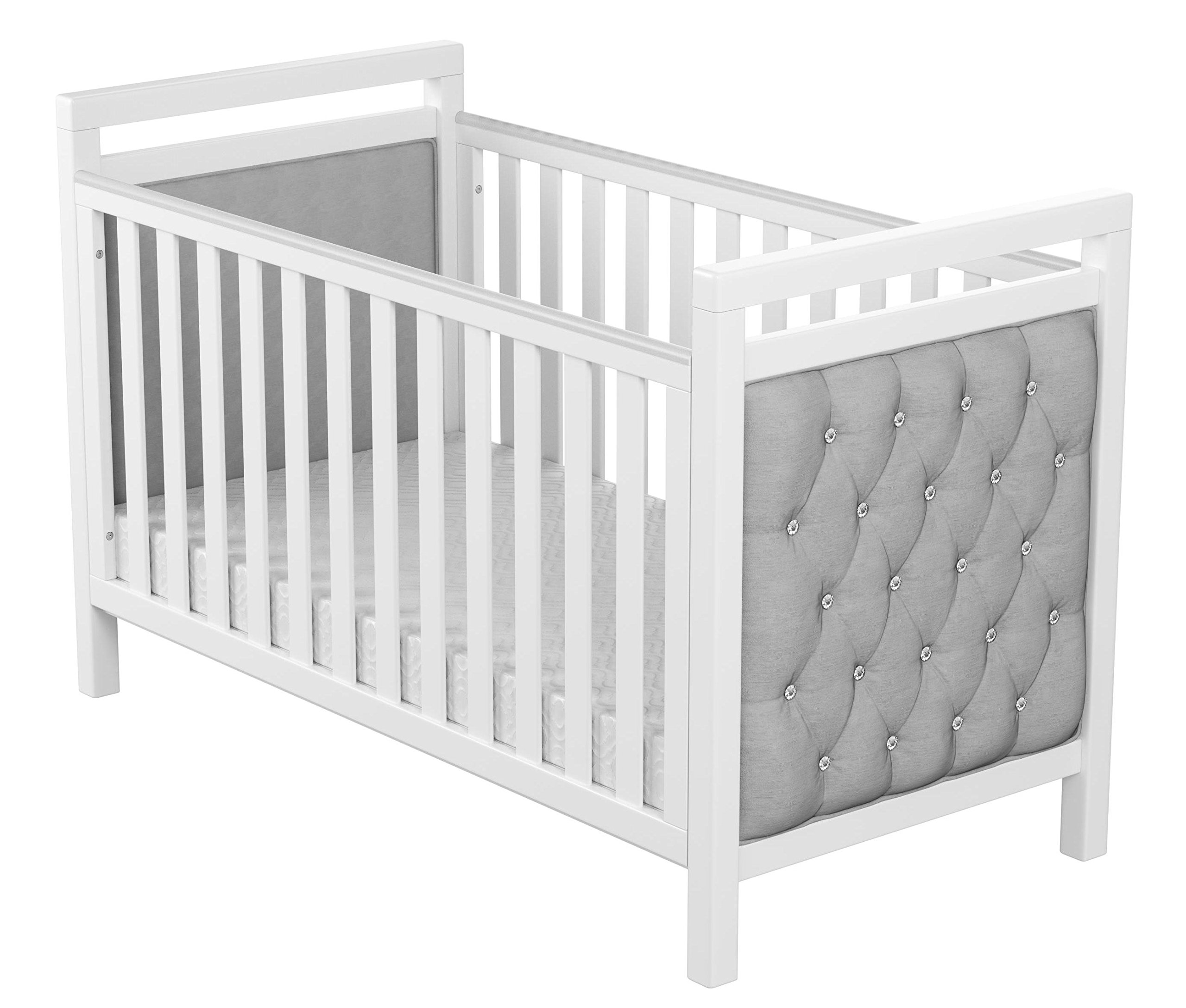 Babymore Velvet Deluxe Cot Bed  Diamante and velvet tufted upholstery Distinctive design for nursery Generous 5 cm solid wood structure, last for years of use 4