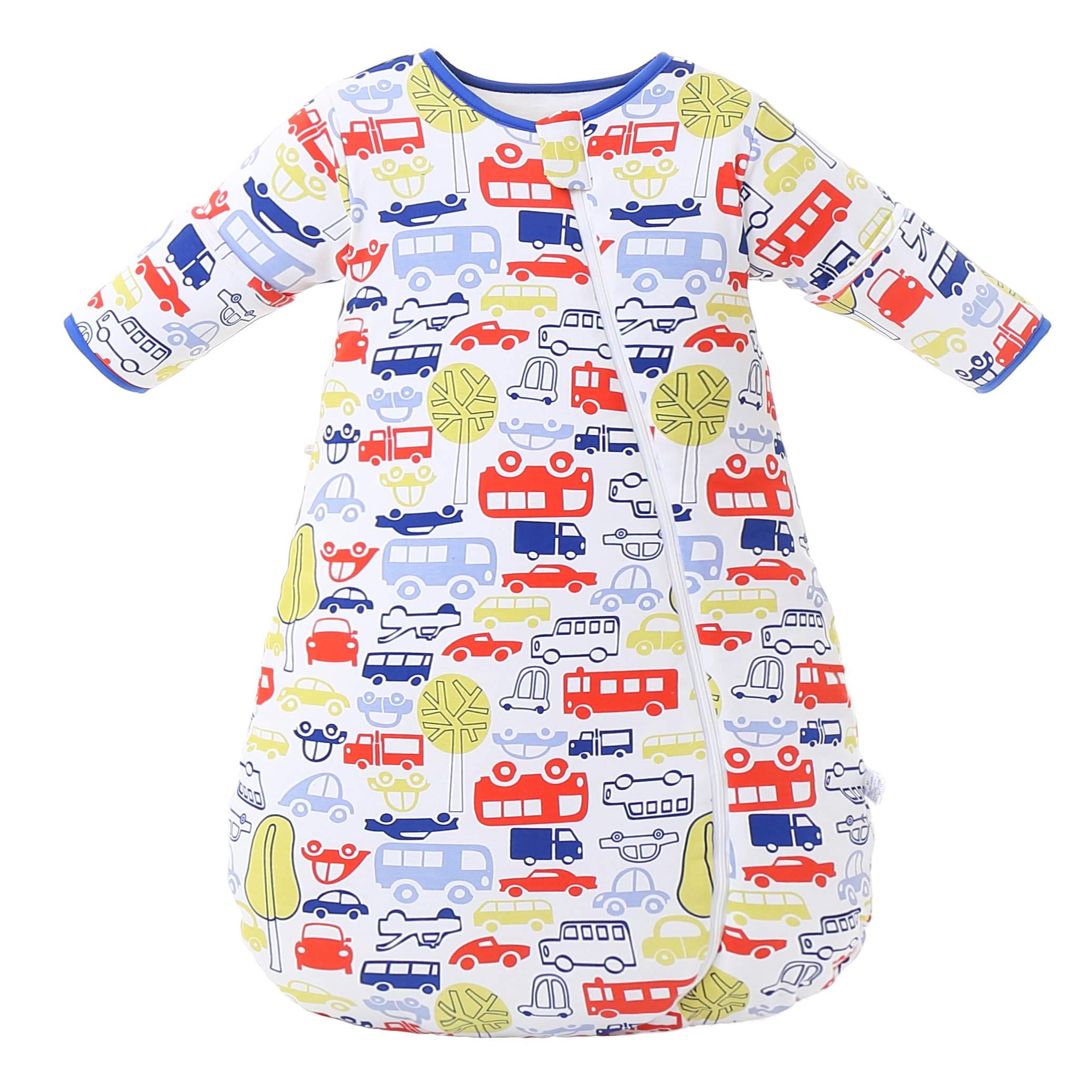 Saco de dormir de invierno para bebé Saco de dormir para niños2.5-3.5 Tog saco de dormir de algodón orgánico Varios tamaños desde el nacimiento hasta los 3 años (tamaño M: 6-18 meses, Azul)