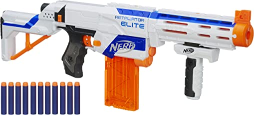 Hasbro Nerf Nerf - Blaster Retaliator Elite Arma, Portata fino a 20 m, Imballaggio Apertura Facile, Bianco/ Arancione