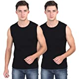 SOLO Men's Round Neck Cotton Muscle Tee Vest Casual Sleeveless/Classic Soft Stretchable Short Crew Undershirt - (Pack of…