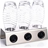 Streambrush Premium Abtropfhalter aus Edelstahl Abtropfständer für z.B. Sodastream Crystal & Emil Flaschen - Flaschenhalter mit praktischer Deckelhalterung   Made in Germany 3X