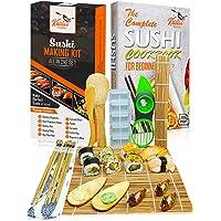Kit Sushi Maki Complet en Bambou – Sushi Maker Kit – 2 Nattes à rouler en Bambou, 3 Paires de Baguettes, Trancheuse à…