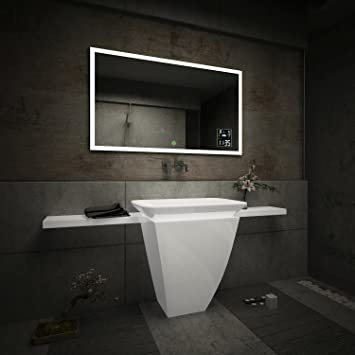 LED Illuminated Bathroom Mirror With Touch Switch And Weather Station Amazoncouk Kitchen Home