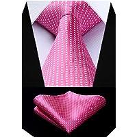 BIYINI Men's Polka Dot Tie Handkerchief Jacquard Woven Classic Men's Necktie & Pocket Square Set