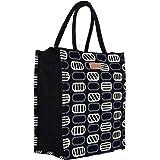 Ecotara Premium Quality Eco Friendly Jute Lunch Bag for Men & Women with Bottle Holder - Black