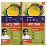 Saffola FITTIFY Gourmet Instant Green Ginger Basil Coffee for Weight Management 30 Sachets (Pack of 2)