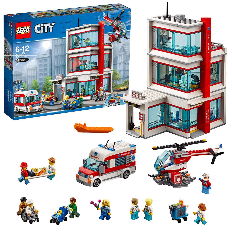 LEGO City – Hospital, Juguete Creativo de Construcción de Edificio con Helicóptero y Ambulancia para Niños y Niñas de 6 a 12 Años, Incluye Minifiguras (60204)