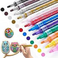 Peinture Acryliques Stylos,RATEL 12 couleurs Marqueur Peinture Acrylique Premium étanche Permanent Art Peinture Set pour…