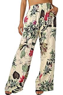 Abollria Pantalon Femme Pyjama Fluide Et/é Ample Elastique dint/érieur Jogging D/étente